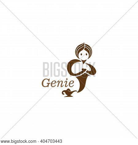 Genie And Magic Lamp Logo Image Template Illustration Vector Design