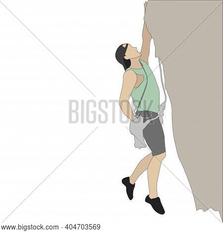 Man Hang On Rock Cliff. Climber Mountain On Cliff, Strength Person Active Extreme, Climbing Adventur
