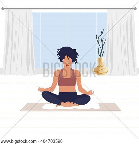 Woman Meditating In Room, Breathing And Meditation. Vector Yoga Fitness Sitting On Floor, Concentrat