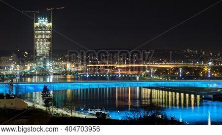 Belgrade, Serbia - January 21, 2021: View From The Belgrade Fortress Of The Sava River, Belgrade Wat