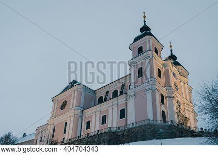 Sonntagberg Basilica Facade In Mostviertel Or Must Quarter In Lower Austria, Exterior Facade Of A Fa