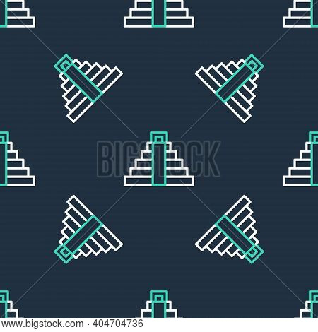 Line Chichen Itza In Mayan Icon Isolated Seamless Pattern On Black Background. Ancient Mayan Pyramid