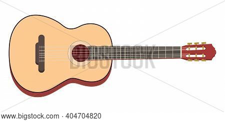 Classical Wooden Guitar. String Plucked Musical Instrument. Rock Or Jazz Equipment. Vector Illustrat