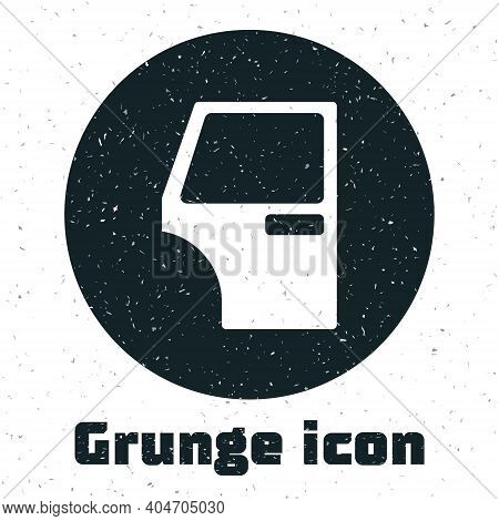 Grunge Car Door Icon Isolated On White Background. Monochrome Vintage Drawing. Vector