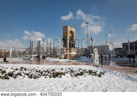 Istanbul, Turkey - January 18, 2021: Taksim Republic Monument In Snowy Day. The First Snow In Istanb
