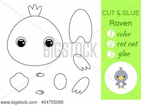Coloring Book Cut And Glue Baby Raven. Educational Paper Game For Preschool Children. Cut And Paste