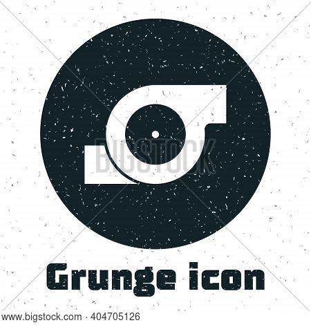 Grunge Automotive Turbocharger Icon Isolated On White Background. Vehicle Performance Turbo. Turbo C