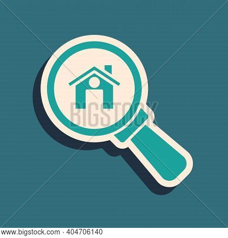 Green Search House Icon Isolated On Green Background. Real Estate Symbol Of A House Under Magnifying