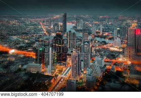 Landscape Of Bangkok City During Night Scene