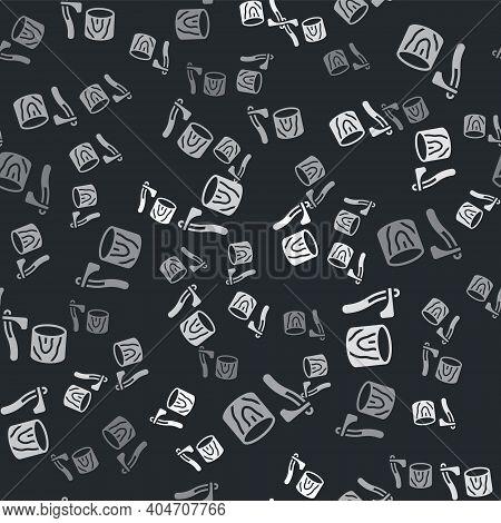 Grey Wooden Axe In Stump Icon Isolated Seamless Pattern On Black Background. Lumberjack Axe. Axe Stu