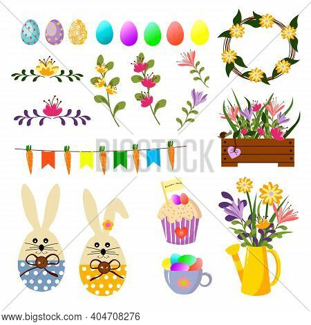 Set With Attributes For Easter. Vector Illustration With Bunny, Flowers, Easter Eggs And Flowers. Us