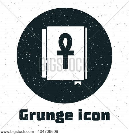 Grunge Cross Ankh Book Icon Isolated On White Background. Monochrome Vintage Drawing. Vector