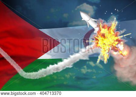 Western Sahara Intercepted Supersonic Missile, Modern Antirocket Destroys Enemy Missile Concept, Mil