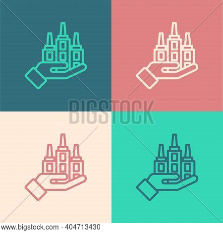 Pop Art Line Skyscraper Icon Isolated On Color Background. Metropolis Architecture Panoramic Landsca