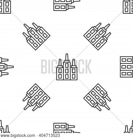 Grey Line Skyscraper Icon Isolated Seamless Pattern On White Background. Metropolis Architecture Pan