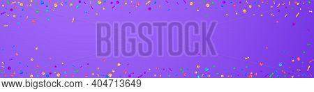 Festive Powerful Confetti. Celebration Stars. Festive Confetti On Violet Background. Alluring Festiv