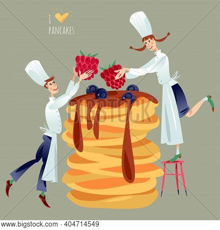 Little Boy And Girl Chefs Decorate Huge Stack Of Pancakes With Berries. Happy Pancake Day! Vector Il