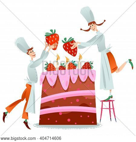Boy And Girl Chefs Decorate Big Birthday Cake With Strawberries.vector Illustration