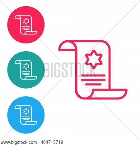 Red Line Torah Scroll Icon Isolated On White Background. Jewish Torah In Expanded Form. Star Of Davi