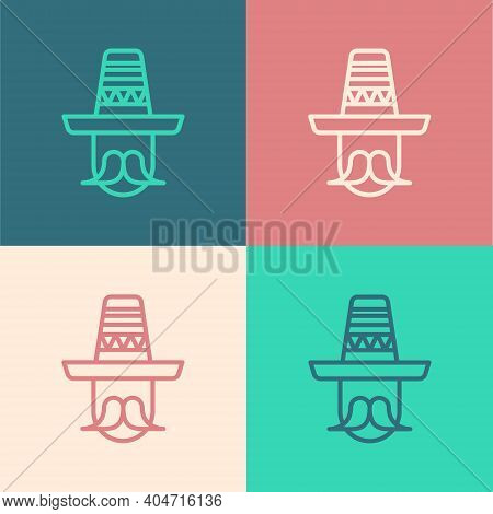 Pop Art Line Mexican Man Wearing Sombrero Icon Isolated On Color Background. Hispanic Man With A Mus