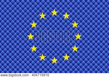 Mosaic Flag Of The European Union - Illustration,  Three Dimensional Flag Of European Union