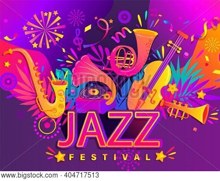 Summer Jazz Nanner, Musical Festival Flyers With Classic Music Instruments - Cello, Cornet, Tuba, Cl