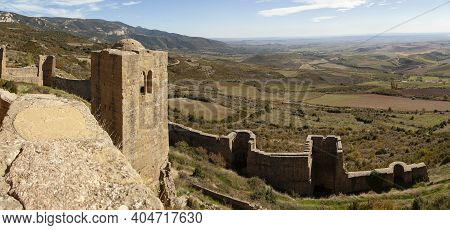 Defensive Outer Wall And Albarrana Tower Of The Medieval Castle Of Loarre, Aragonese Castle From The