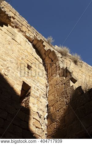 Interior Wall Of The Medieval Castle Of Loarre, Aragonese Castle From The 11th And 12th Century, Rom