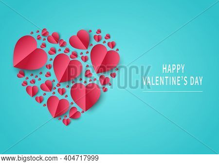 Valentine's Day Background. Abstract Background. Hearts Red Papaer Cut Card On Light Blue Backgroung