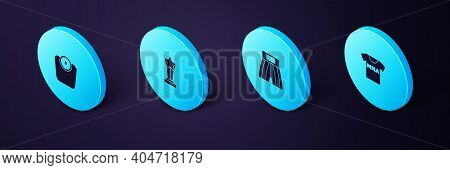 Set Isometric T-shirt With Fight Club Mma, Boxing Short, Award Cup And Bathroom Scales Icon. Vector