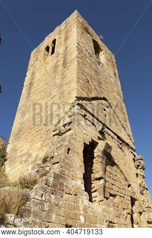 Defensive Outer Tower Of The Medieval Castle Of Loarre, Aragonese Castle From The 11th And 12th Cent