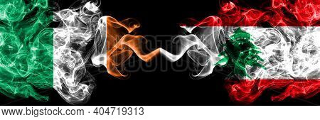 Republic Of Ireland, Irish Vs Lebanon, Lebanese Smoky Mystic Flags Placed Side By Side. Thick Colore