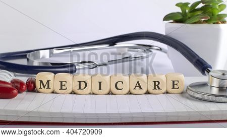 Medicare Word Made With Building Blocks, Medical Concept
