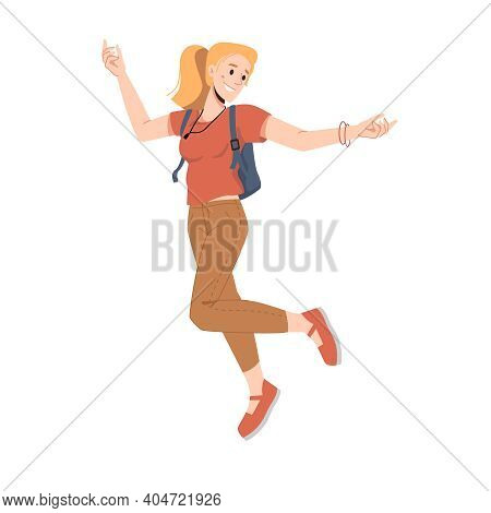Smiling Blonde Woman With Ponytail, Leaping Or Jumping Isolated College University Student In Trendy