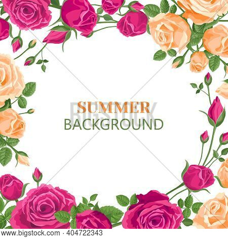 Flower Square Banner. White Background. Roses, Buds And Leaves On A Light Background In Retro Style