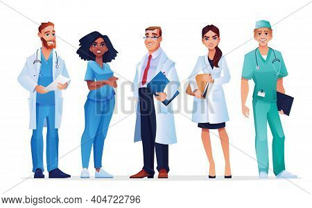 Doctors And Nurses Healthcare Workers Team Isolated Medical Staff. Males And Females In Blue Scrubs