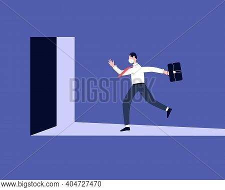 Late Business Man With Briefcase Rushing In A Hurry To Get On Time To Office. Business Person Runnin