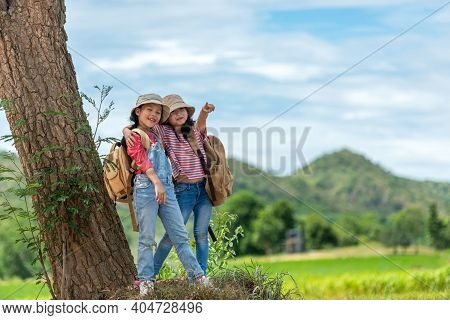 Group Friend Children Travel Nature Summer Trips.  Family Asia People  Tourism Happy And Fun Explore