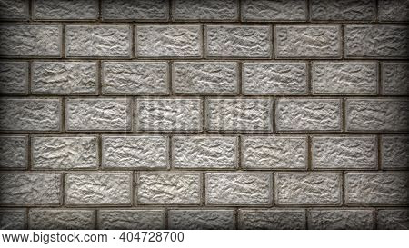 The Wall Of The Building Is Made Of Gray Concrete Blocks. Aged Background Or Wallpaper With Vignetti