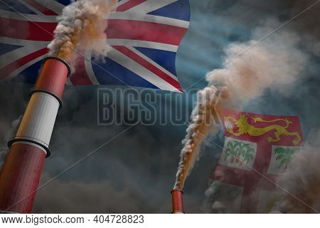 Fiji Pollution Fight Concept - Two Big Factory Chimneys With Heavy Smoke On Flag Background, Industr