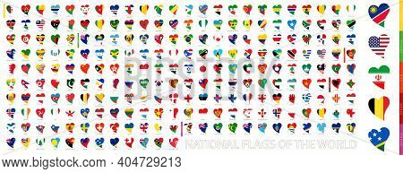 National Flags Of The World In Shape Of Heart. Heart Icon Set With The Flags Of The World, Flag Sort