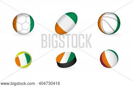 Sports Equipment With Flag Of Ivory Coast. Sports Icon Set Of Football, Rugby, Basketball, Tennis, H