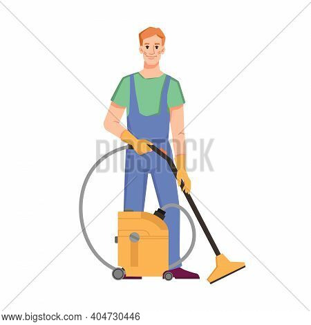 Cleaning Service And Care For Home, Office Or Hotel Room. Isolated Cleaner Staff With Machine For Ti