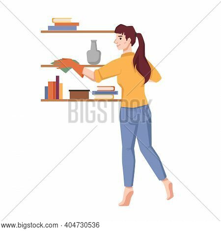 Woman Wipes Dust On Shelves Isolated Flat Cartoon Character. Vector Housework Household, Housewife T