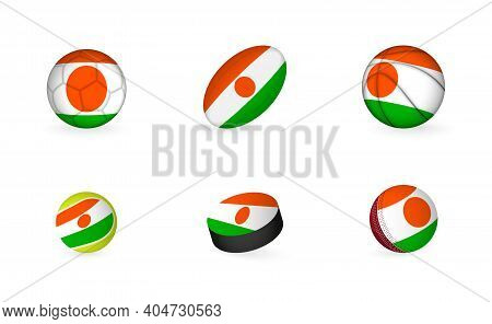 Sports Equipment With Flag Of Niger. Sports Icon Set Of Football, Rugby, Basketball, Tennis, Hockey,