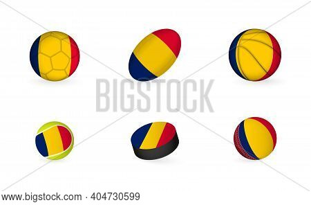 Sports Equipment With Flag Of Chad. Sports Icon Set Of Football, Rugby, Basketball, Tennis, Hockey,