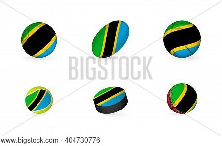 Sports Equipment With Flag Of Tanzania. Sports Icon Set Of Football, Rugby, Basketball, Tennis, Hock