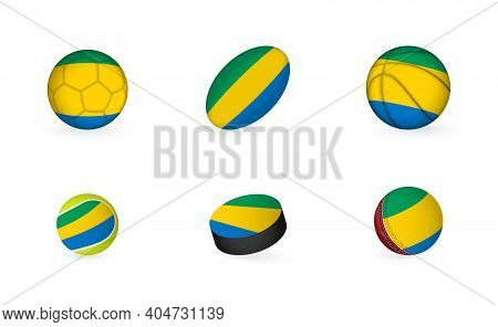 Sports Equipment With Flag Of Gabon. Sports Icon Set Of Football, Rugby, Basketball, Tennis, Hockey,