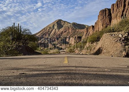 Lonely Highway With Yellow Middle Line In A Beautiful And Arid Desert Landscape Showing Cactus And D