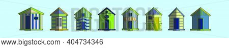 Set Of Living Place Cartoon Icon Design Template With Various Models. Modern Vector Illustration Iso